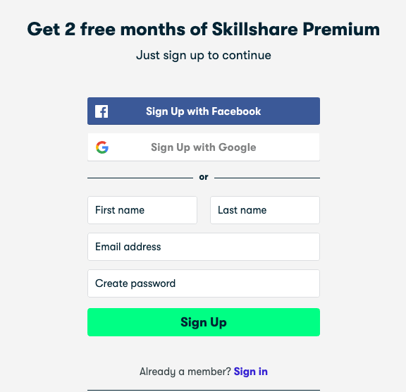 skillshare signup page