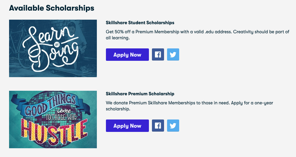 Skillshare Student free Scholarship account