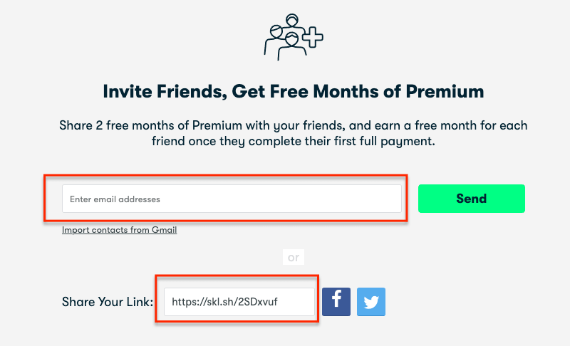 Skillshare invitation for one month free subscription