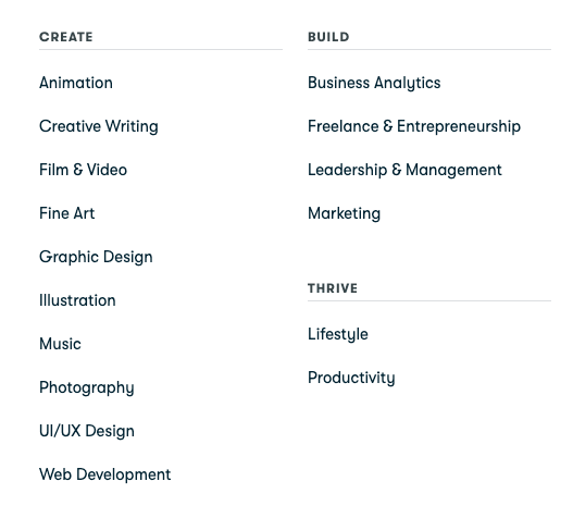skillshare course categories